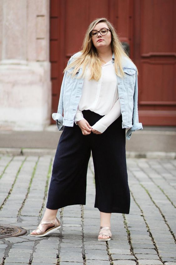 black culottes, a white shirt, a pale blue denim jacket, platform shoes