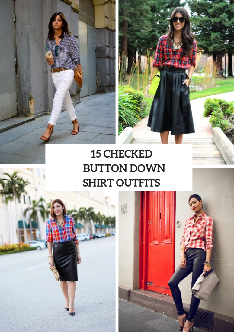 Outfits With Checked Button Down Shirts For Women