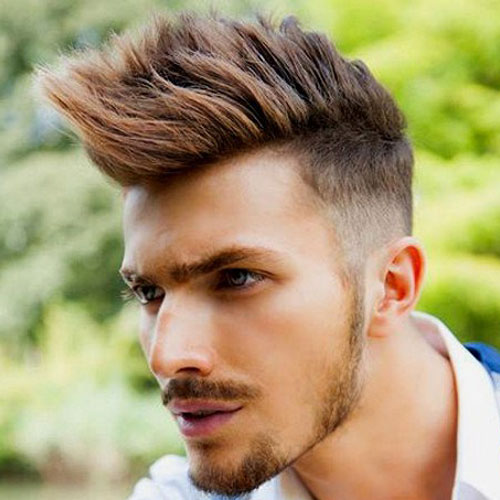 a spiked long faux hawk with fade requires styling and looks very rock inspired