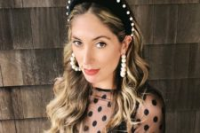 16 a black velvet headband with pearls and matching pearl earrings that wow