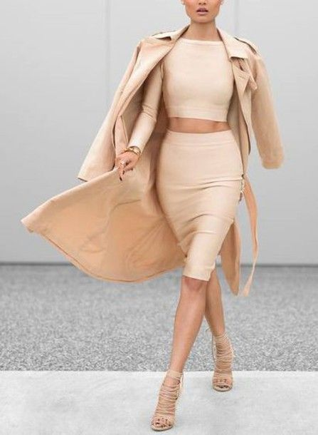 a creamy crop top and pencil skirt, tan strappy shoes, a tan trench
