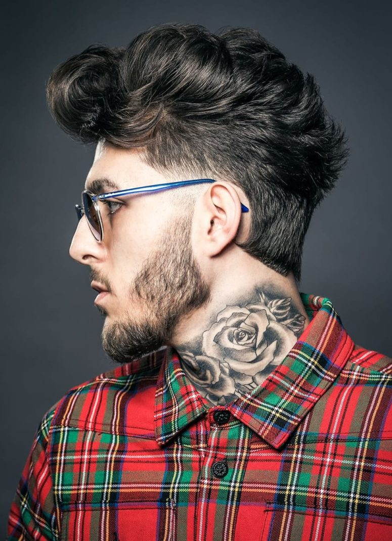 a volume faux hawk creates an impression of extra volume and brings a hipster feel to the cut