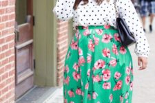 16 mixing prints with a polka dot shirt, a bright green floral midi and yellow shoes