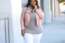 16 white skinnies, a grey cowl neck sweater, a blush leather jacket, grey heels