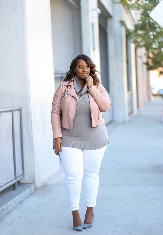 white skinnies, a grey cowl neck sweater, a blush leather jacket, grey heels
