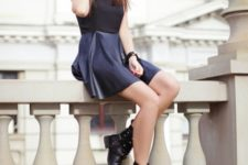 With black and blue mini dress