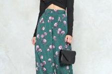 With black crop shirt, small bag and black mules
