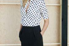 With black knee-length skirt