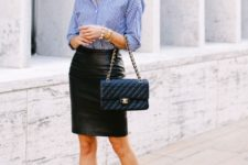 With black leather pencil skirt, chain strap bag and black and white shoes