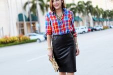 With black pencil skirt, leopard clutch and black shoes