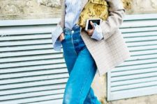 With checked blazer, printed clutch, wide leg jeans and white boots