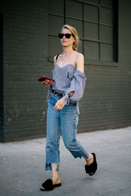 With checked off the shoulder top, cropped jeans and sunglasses