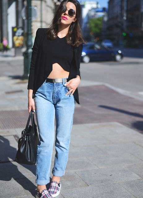 With cuffed jeans, black crop shirt, black bag and checked flat shoes