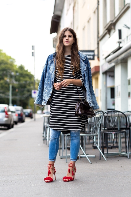 With denim jacket, patent leather bag and red lace up shoes