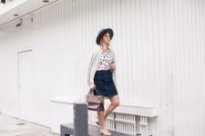 With denim skirt, hat, white cardigan and bag
