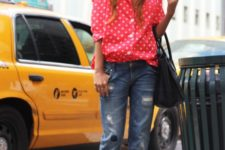 With distressed cuffed jeans, leopard shoes and bag