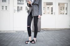 With distressed pants, printed blazer and white top