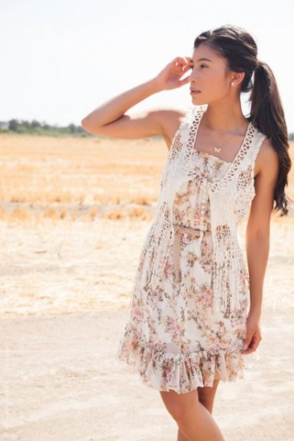 With floral ruffled dress