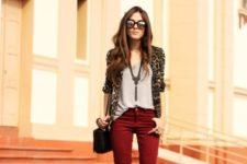 With gray loose top, marsala pants, black shoes and small bag