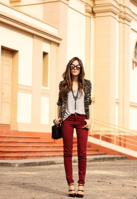 With gray loose top, marsala pants, black shoes and small bag