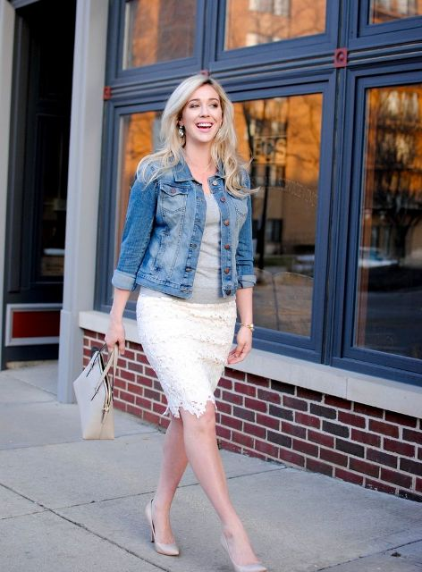 With gray top, denim jacket, beige bag and pumps