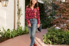 With jeans, red leather ankle boots and small bag
