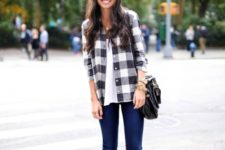 With jeans, white t-shirt, black bag and beige suede boots