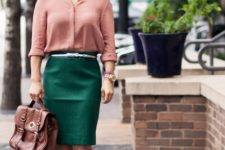 With pale pink shirt, emerald pencil skirt, brown bag and shoes