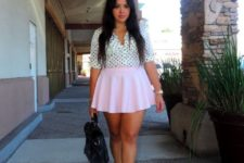 With pale pink skater skirt, black bag and lace up shoes