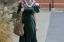 With plaid scarf, leather bag and beige pumps