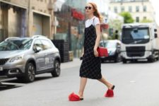 With printed dress, red bag and white t-shirt