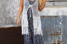 With printed maxi dress and beige shoes