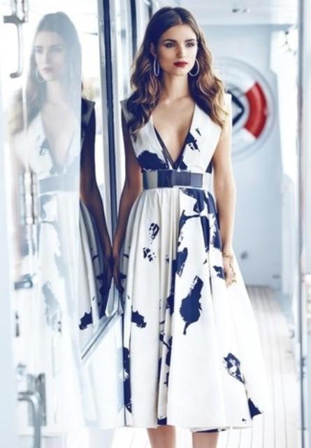 With printed midi dress
