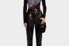 With printed sweater, chain strap bag, belt and embellished boots