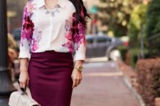 With purple knee-length skirt, white bag and necklace