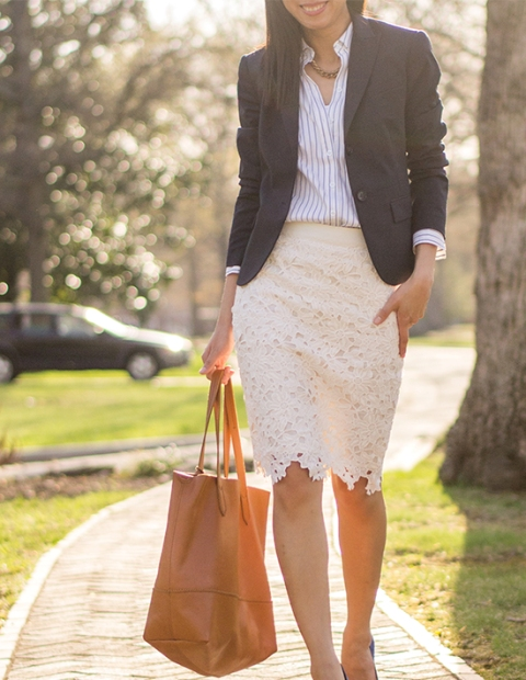 With striped shirt, blazer, brown tote and shoes