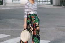 With striped shirt, rounded bag and light brown shoes