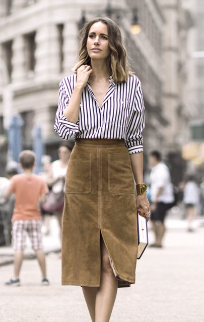 With suede midi skirt