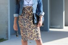 With t-shirt, denim jacket, chain strap bag and ankle strap shoes