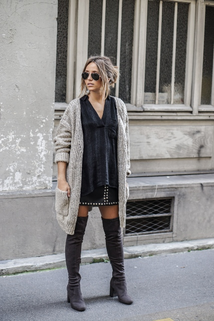 With velvet shirt, gray cardigan and over the knee boots