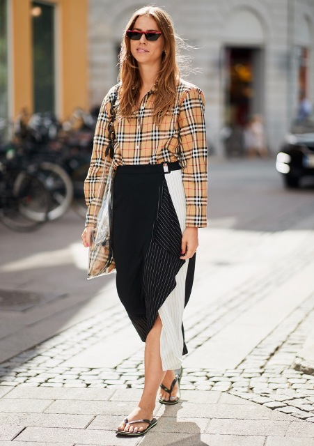 With white and black striped skirt, tote bag and flat shoes