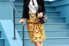 With white button down shirt, black blazer, crossbody bag and shoes