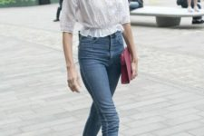 With white lace blouse, marsala clutch and black flats