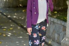 With white loose shirt, purple blazer, silver shoes and small bag