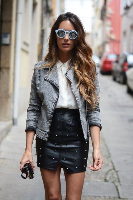 With white shirt and denim jacket