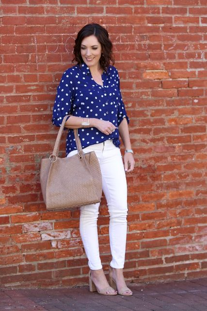 With white skinny pants, tote bag and beige high heels