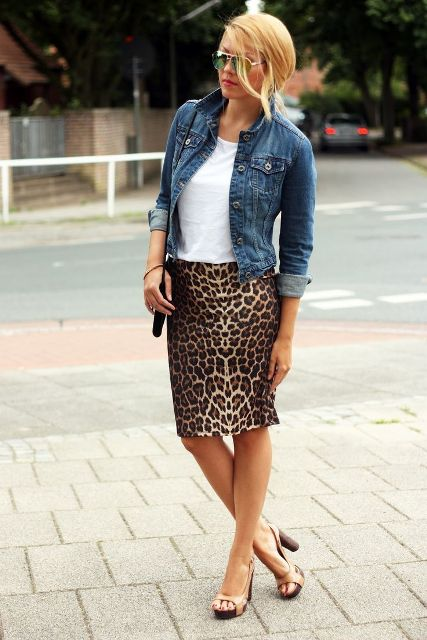 With white t-shirt, denim jacket and high heels