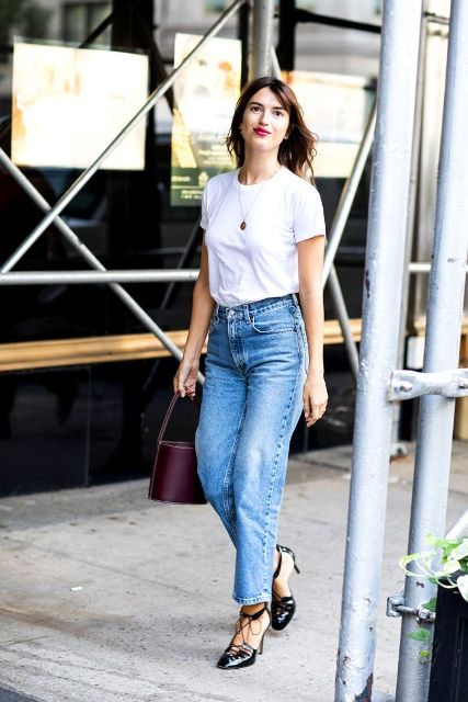 With white t-shirt, marsala bag and ankle strap shoes
