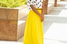 With yellow maxi skirt