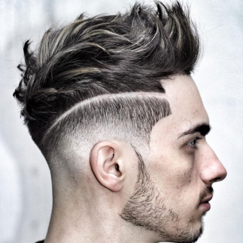 a high low fade with quiff and stubble is a bold idea only for daring men
